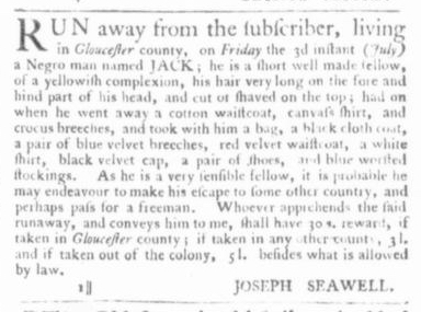 Jul 9 - Virginia Gazette Slavery 2