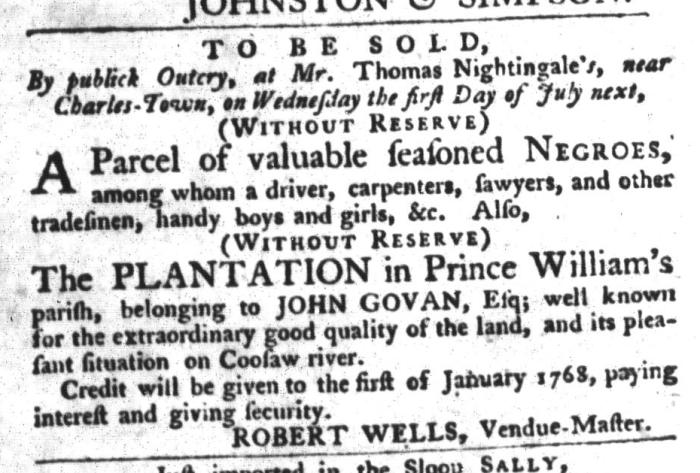 Jun 16 - South-Carolina Gazette and Country Journal Slavery 1
