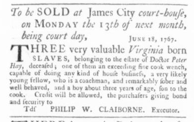 Jun 18 - Virginia Gazette Slavery 1