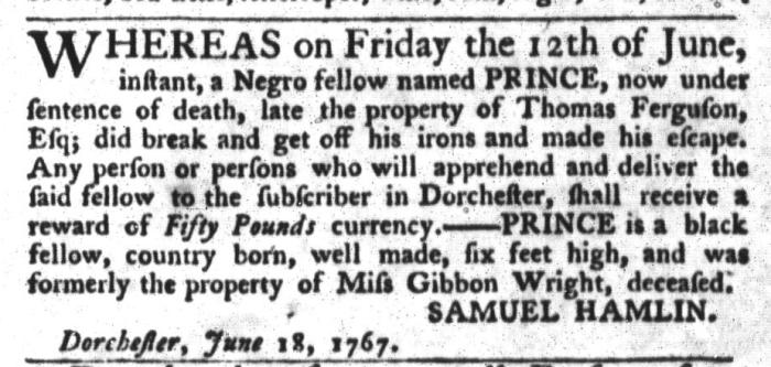 Jun 23 - South-Carolina Gazette and Country Journal Slavery 1