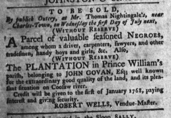 Jun 23 - South-Carolina Gazette and Country Journal Slavery 4