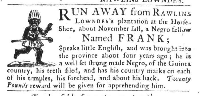 Aug 4 - South-Carolina Gazette and Country Journal Slavery 1