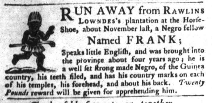 Aug 11 - South-Carolina Gazette and Country Journal Slavery 6
