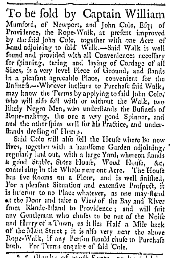 Aug 15 - Providence Gazette Slavery 1