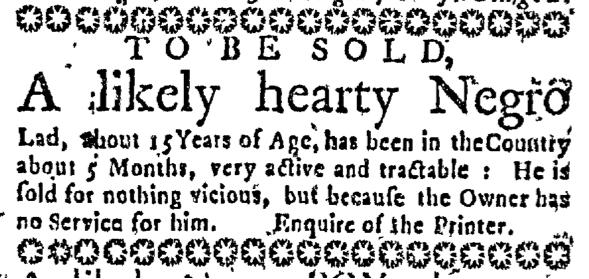 Aug 20 - Massachusetts Gazette Slavery 1