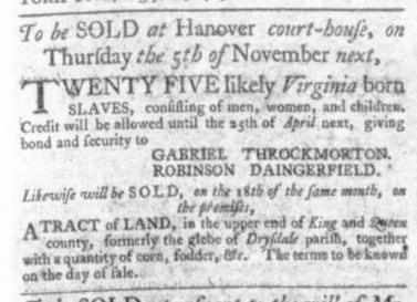 Aug 20 - Virginia Gazette Slavery 1