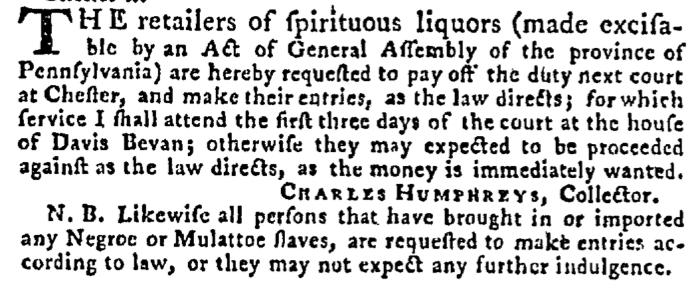 Aug 6 - Pennsylvania Gazette Supplement Slavery 1