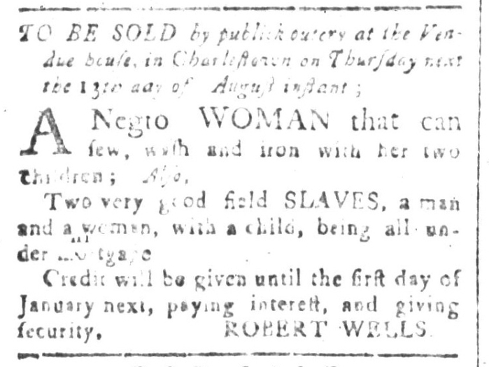 Aug 7 - South-Carolina and American General Gazette Slavery 1