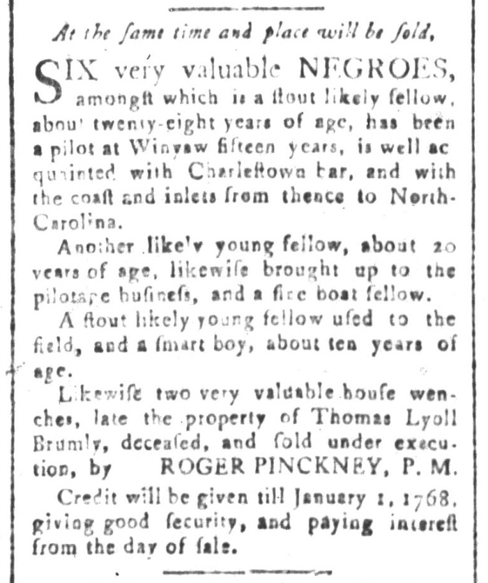 Aug 7 - South-Carolina and American General Gazette Slavery 5
