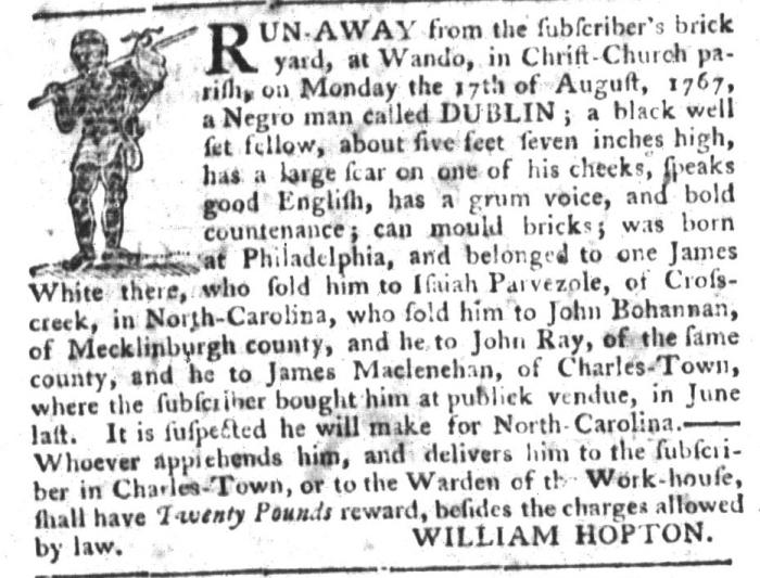 Sep 1 - South-Carolina Gazette and Country Journal Slavery 6