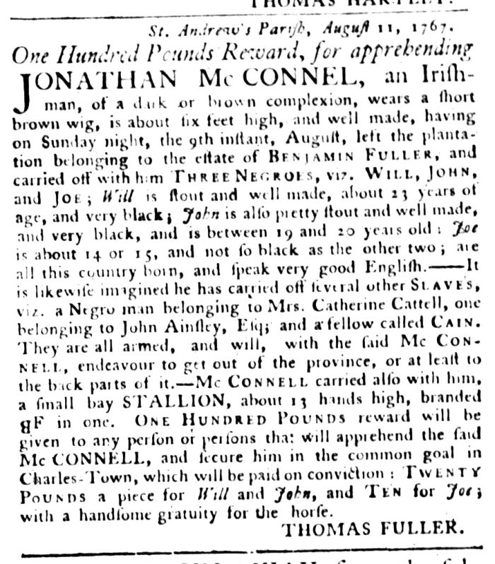 Sep 1 - South-Carolina Gazette and Country Journal Supplement Slavery 1