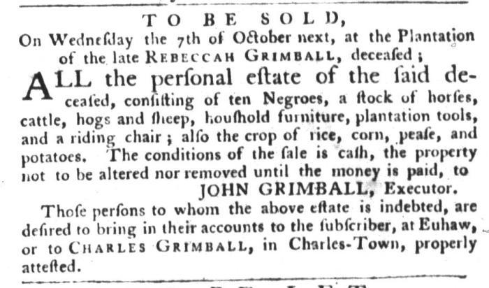 Sep 15 - South-Carolina Gazette and Country Journal Slavery 1