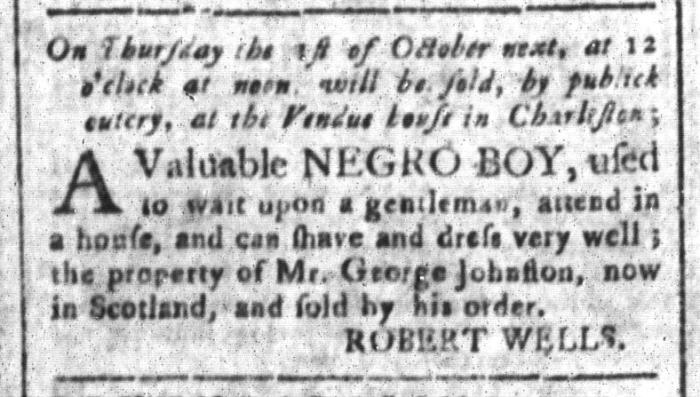 Sep 18 - South-Carolina and American General Gazette Slavery 2