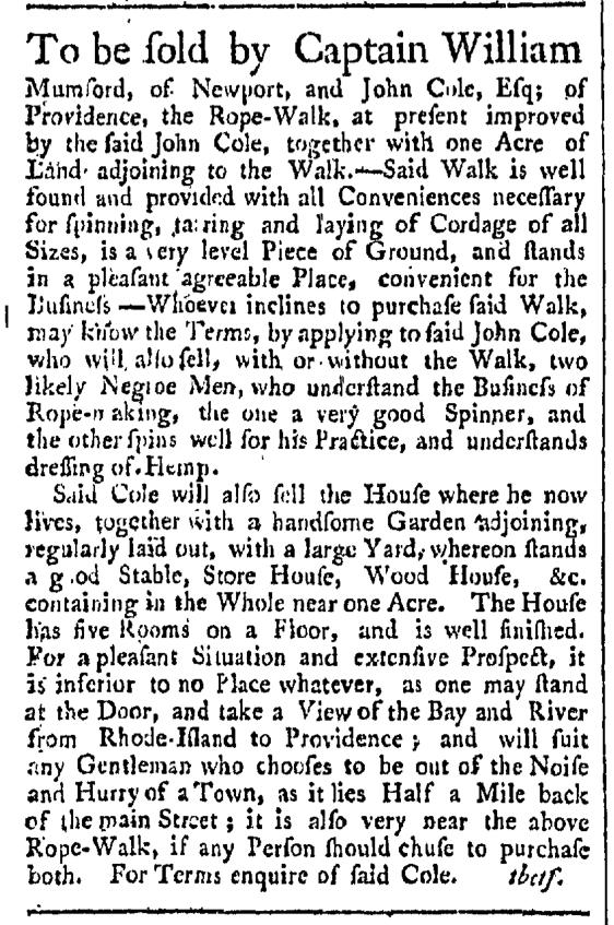 Sep 19 - Providence Gazette Slavery 1