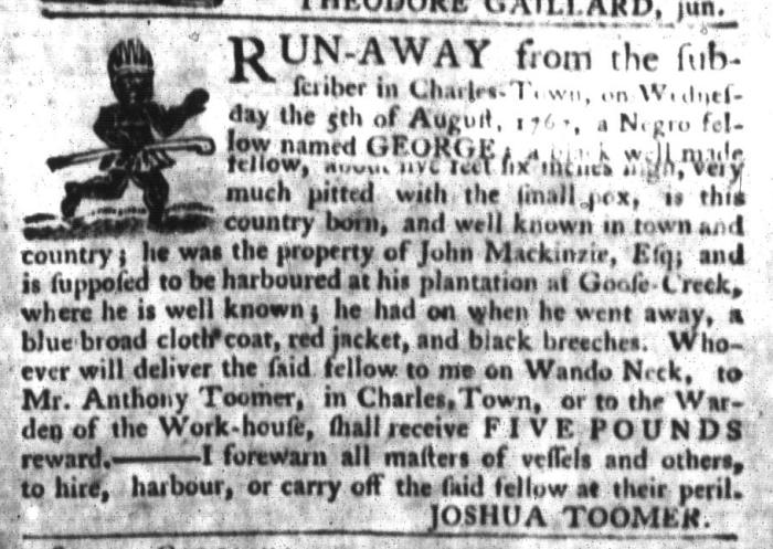 Sep 22 - South-Carolina Gazette and Country Journal Slavery 7