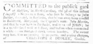 Sep 3 - Virginia Gazette Slavery 1