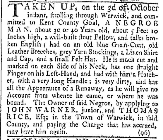 Oct 10 - Providence Gazette Slavery 1