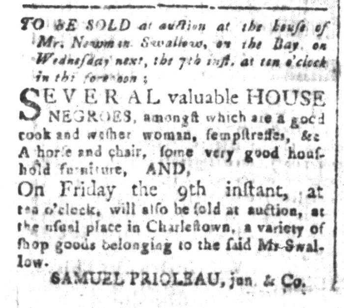 Oct 2 - South-Carolina and American General Gazette Slavery 1