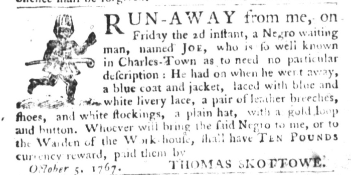 Oct 6 - South-Carolina Gazette and Country Journal Slavery 3