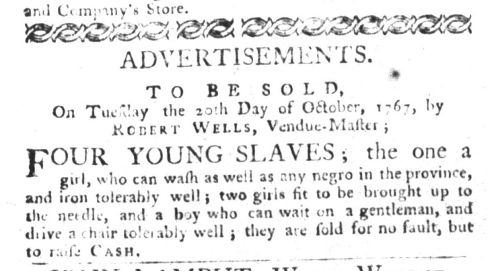 Oct 6 - South-Carolina Gazette and Country Journal Slavery 4