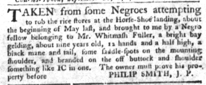 Oct 6 - South-Carolina Gazette and Country Journal Slavery 8