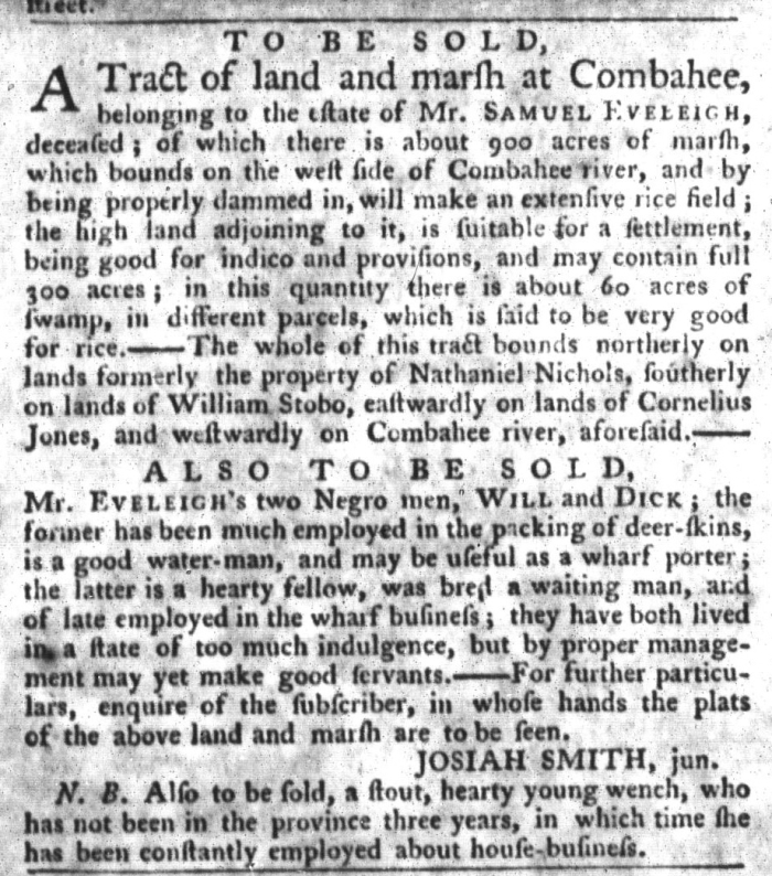 Oct 6 - South-Carolina Gazette and Country Journal Slavery 9