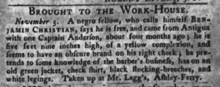 Nov 10 - South-Carolina Gazette and Country Journal Slavery 7