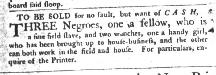 Nov 10 - South-Carolina Gazette and Country Journal Slavery 9