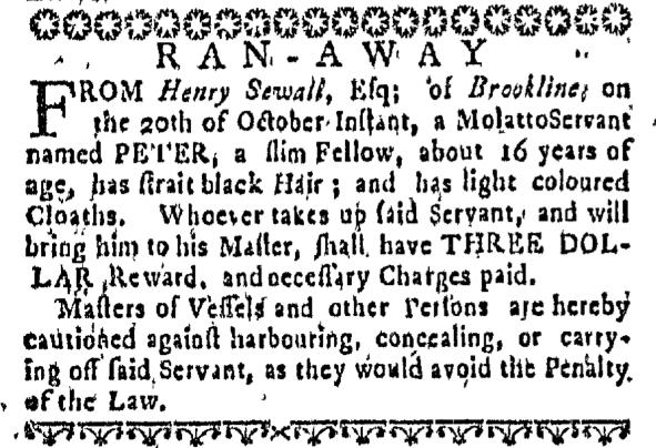 Nov 12 - Massachusetts Gazette Supplement Slavery 1