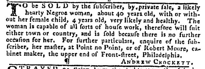 Nov 12 - Pennsylvania Gazette Slavery 1