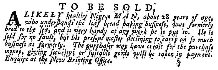 Nov 12 - Pennsylvania Gazette Supplement Slavery 1