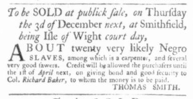 Nov 12 - Virginia Gazette Slavery 1
