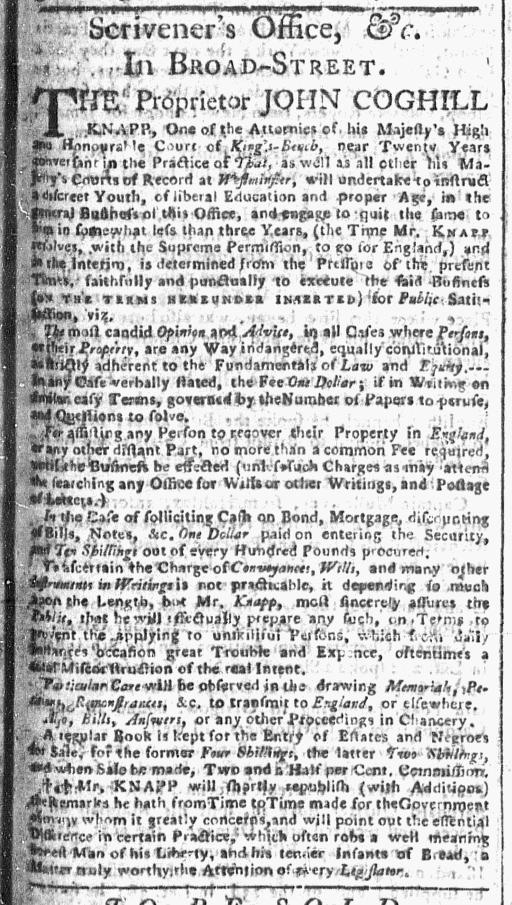 Nov 2 - New-York Gazette Slavery 1