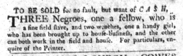 Nov 3 - South-Carolina Gazette and Country Journal Slavery 4