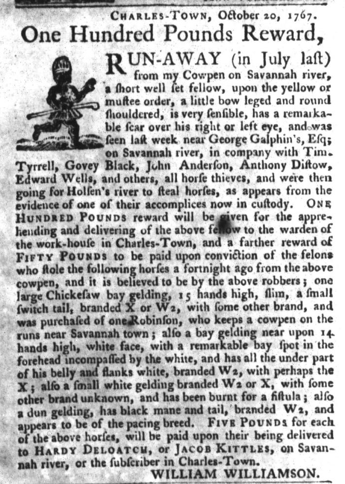 Nov 3 - South-Carolina Gazette and Country Journal Slavery 8