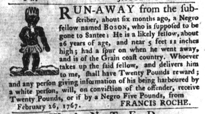 Nov 3 - South-Carolina Gazette and Country Journal Supplement Slavery 10