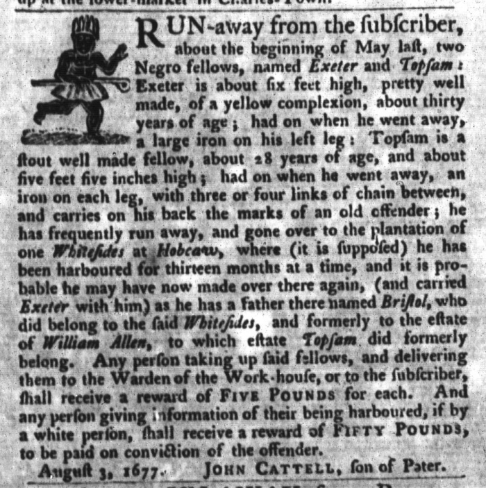 Nov 3 - South-Carolina Gazette and Country Journal Supplement Slavery 8