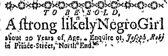 Oct 15 - Massachusetts Gazette Slavery 1