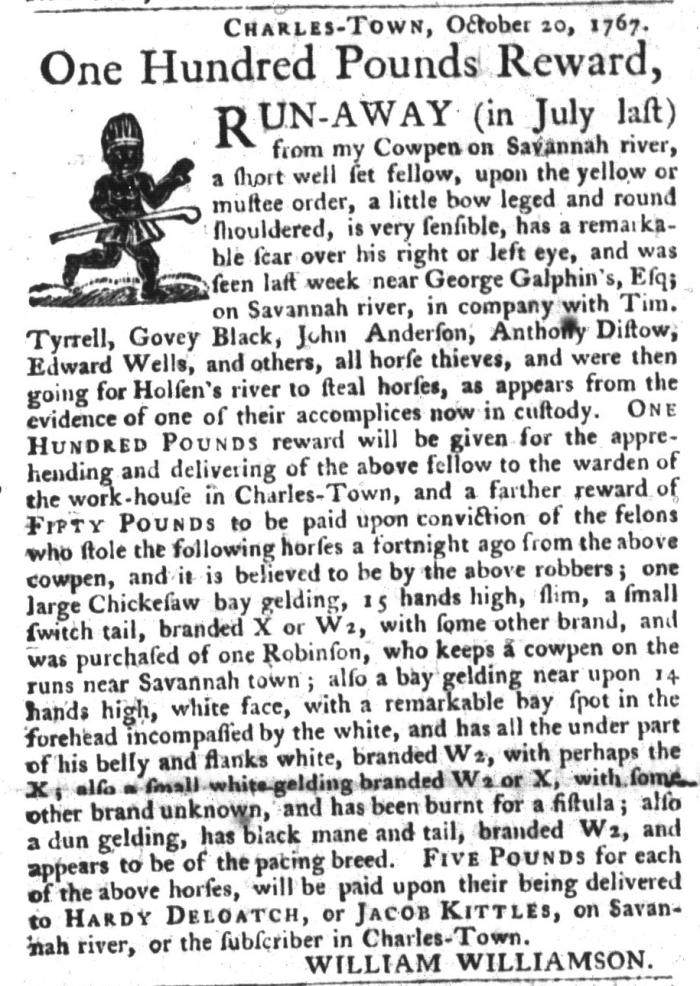 Oct 27 - South-Carolina Gazette and Country Journal Slavery 1