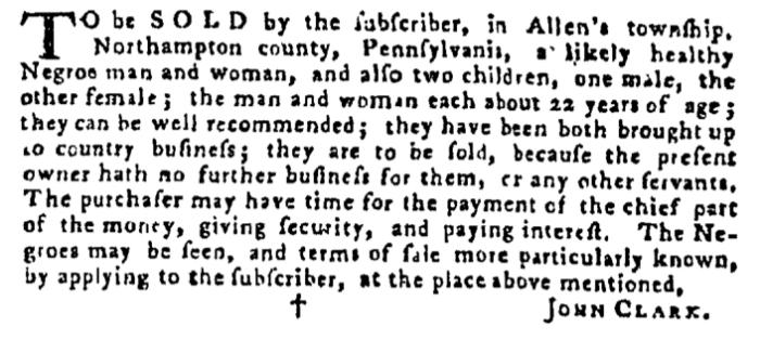 Dec 10 - Pennsylvania Gazette Supplement Slavery 3