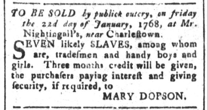 Dec 11 - South-Carolina and American General Gazette Slavery 1