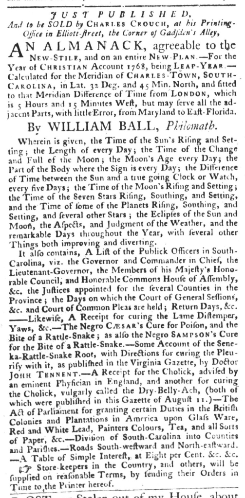 Dec 15 - South-Carolina Gazette and Country Journal Addition Slavery 2