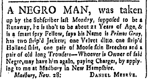 Dec 18 - New-Hampshire Gazette Slavery 1