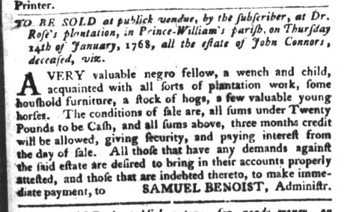 Dec 22 - South-Carolina Gazette and Country Journal Slavery 3