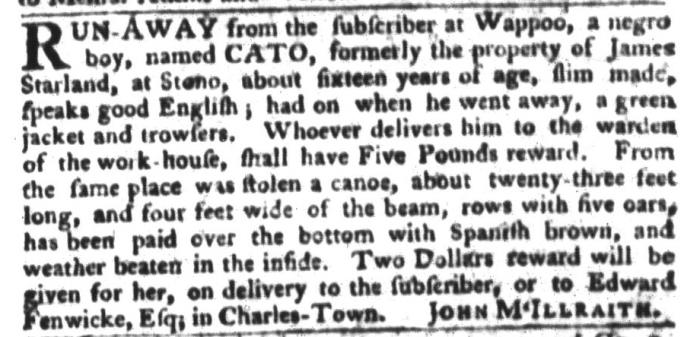 Dec 22 - South-Carolina Gazette and Country Journal Slavery 7