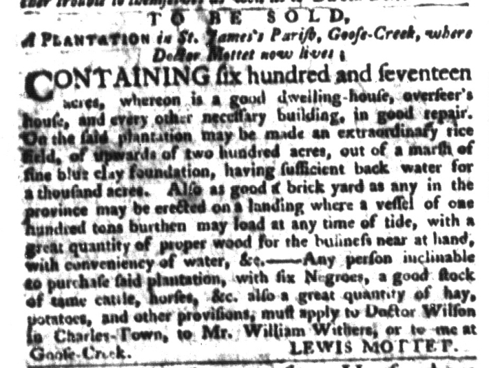 Dec 22 - South-Carolina Gazette and Cuntry Journal Supplement Slavery 4
