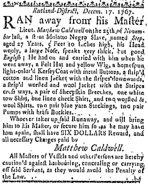 Dec 24 - Massachuestts Gazette Slavery 1