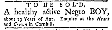 Dec 28 - Boston Evening-Post Slavery 1