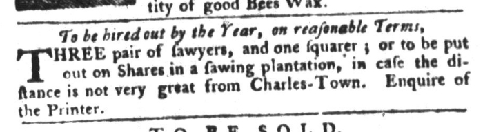 Dec 29 - South-Carolina Gazette and Country Journal Slavery 2