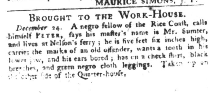 Dec 29 - South-Carolina Gazette and Country Journal Slavery 4